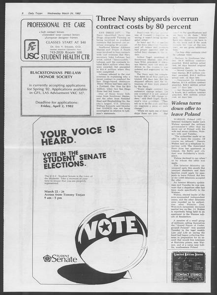 Daily Trojan, Vol. 91, No. 49, March 24, 1982