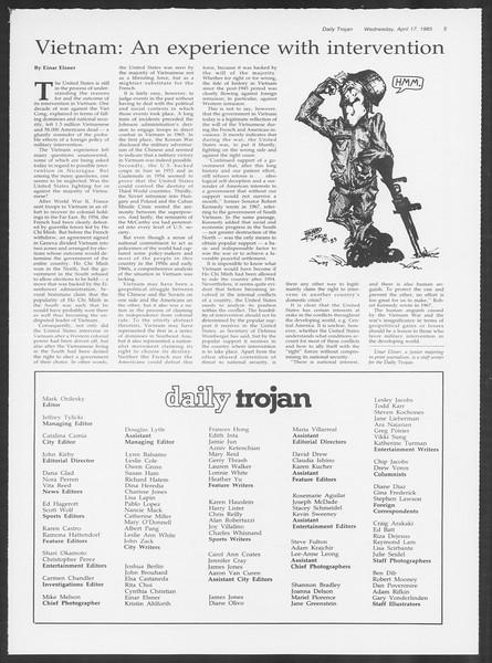 Daily Trojan, Vol. 98, No. 61, April 17, 1985