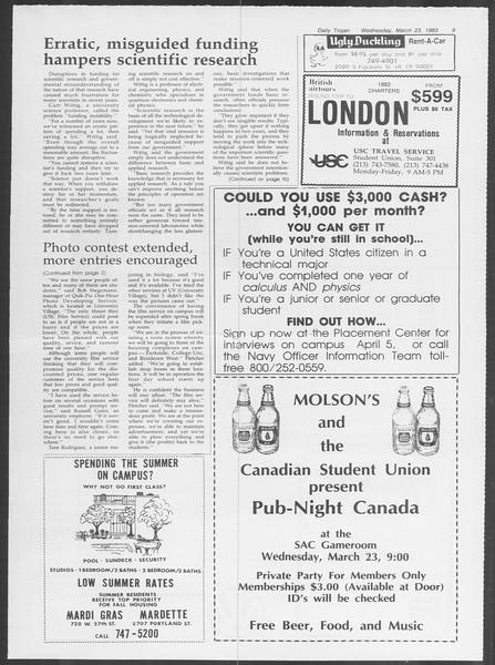 Daily Trojan, Vol. 93, No. 49, March 23, 1983