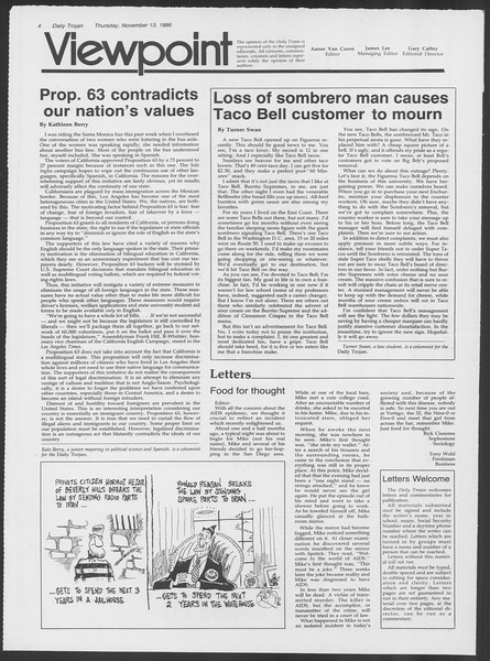 Daily Trojan, Vol. 102, No. 52, November 13, 1986
