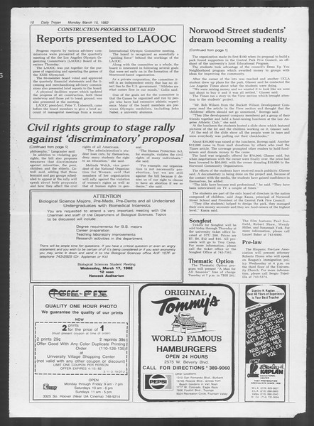 Daily Trojan, Vol. 91, No. 42, March 15, 1982