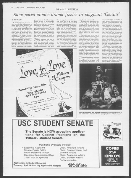 Daily Trojan, Vol. 95, No. 64, April 18, 1984