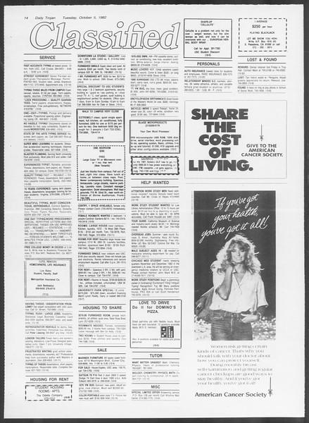 Daily Trojan, Vol. 92, No. 21, October 05, 1982