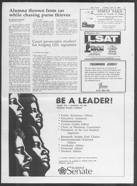Daily Trojan, Vol. 93, No. 61, April 19, 1983