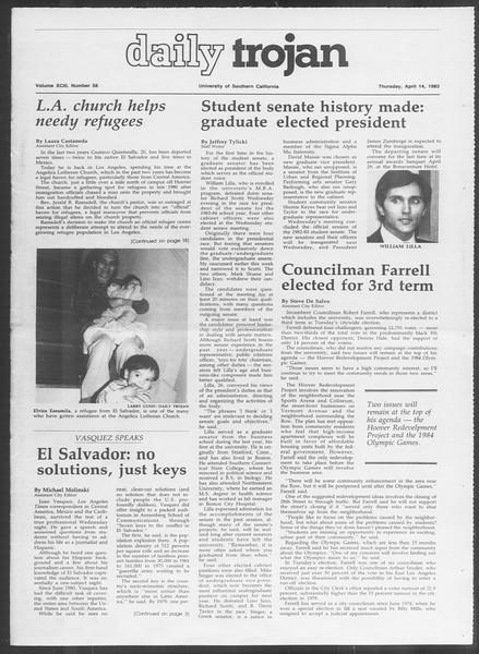 Daily Trojan, Vol. 93, No. 58, April 14, 1983