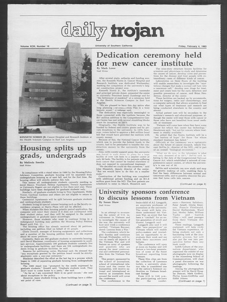 Daily Trojan, Vol. 93, No. 18, February 04, 1983
