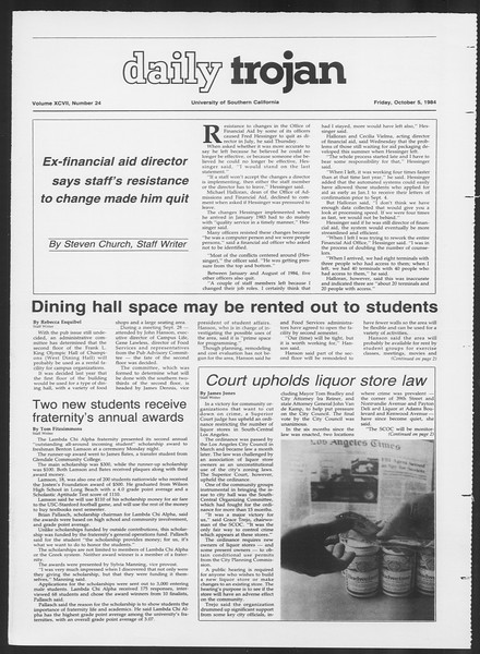 Daily Trojan, Vol. 97, No. 24, October 05, 1984