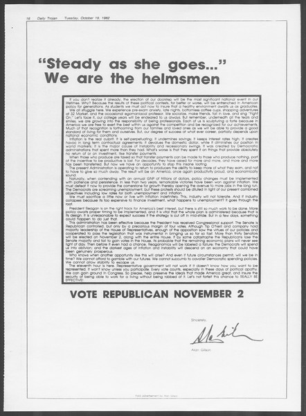 Daily Trojan, Vol. 92, No. 30, October 19, 1982