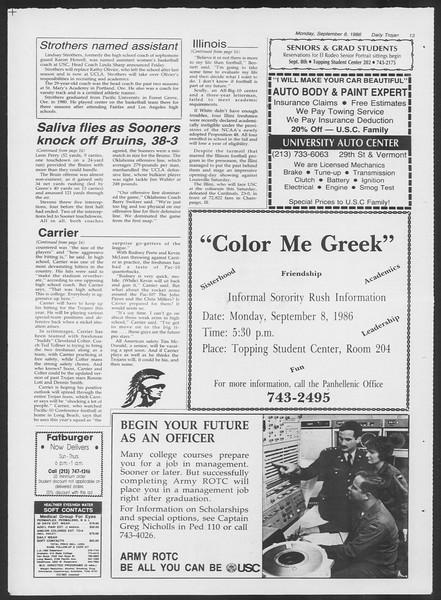 Daily Trojan, Vol. 102, No. 5, September 08, 1986