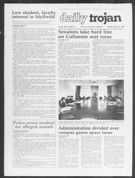 Daily Trojan, Vol. 93, No. 43, March 15, 1983
