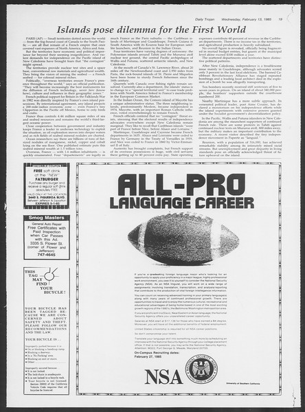Daily Trojan, Vol. 98, No. 24, February 13, 1985
