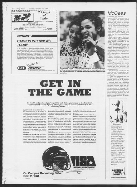 Daily Trojan, Vol. 97, No. 31, October 16, 1984