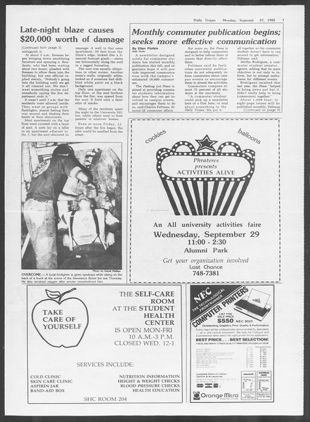 Daily Trojan, Vol. 92, No. 15, September 27, 1982
