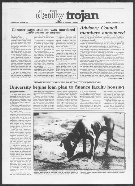 Daily Trojan, Vol. 92, No. 25, October 11, 1982