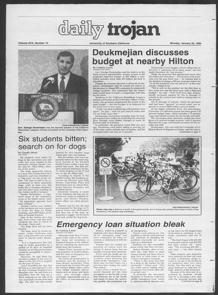 Daily Trojan, Vol. 95, No. 10, January 23, 1984