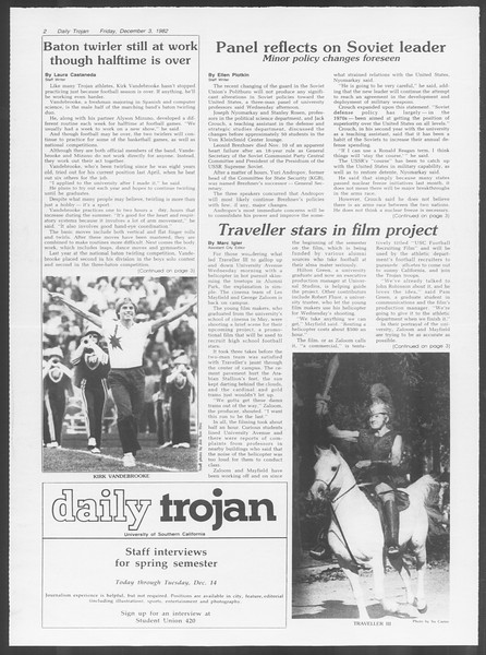 Daily Trojan, Vol. 92, No. 59, December 03, 1982