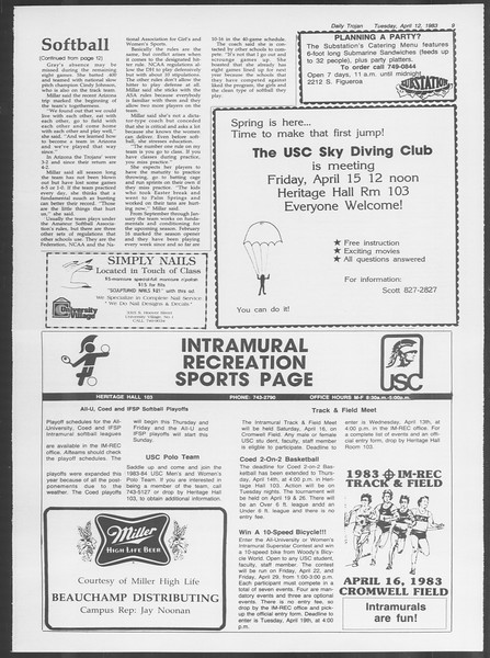 Daily Trojan, Vol. 93, No. 56, April 12, 1983