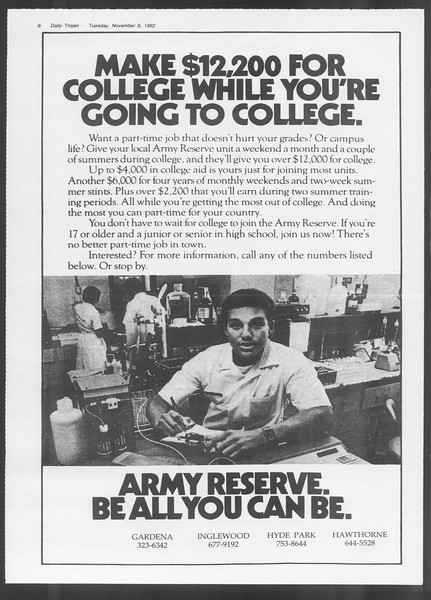 Daily Trojan, Vol. 92, No. 45, November 09, 1982