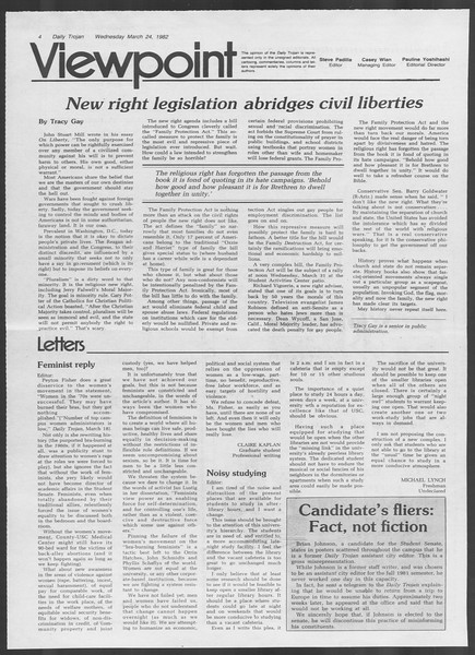 Daily Trojan, Vol. 91, No. 49, March 24, 1982