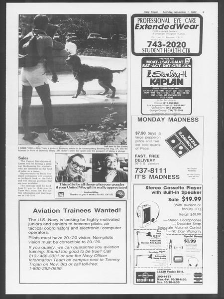 Daily Trojan, Vol. 92, No. 39, November 01, 1982