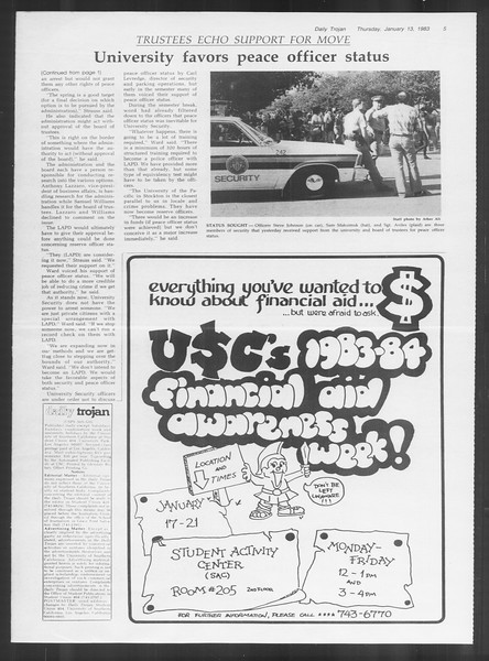 Daily Trojan, Vol. 93, No. 3, January 13, 1983