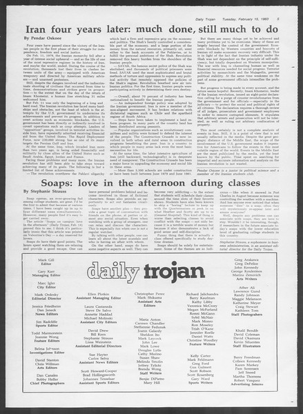 Daily Trojan, Vol. 93, No. 25, February 15, 1983