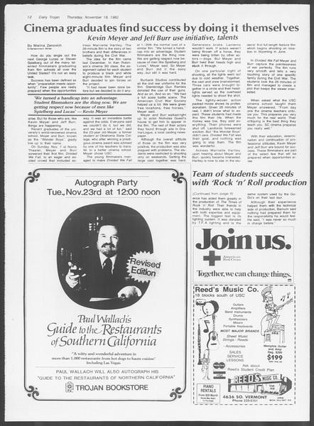Daily Trojan, Vol. 92, No. 52, November 18, 1982