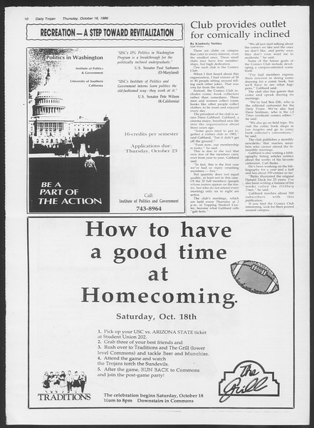 Daily Trojan, Vol. 102, No. 33, October 16, 1986