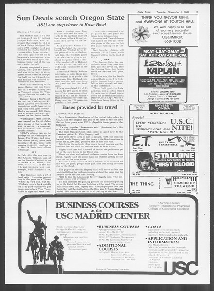 Daily Trojan, Vol. 92, No. 45, November 09, 1982