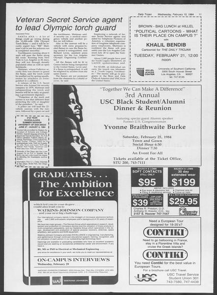 Daily Trojan, Vol. 95, No. 27, February 15, 1984
