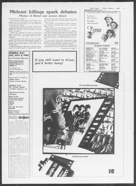 Daily Trojan, Vol. 92, No. 19, October 01, 1982