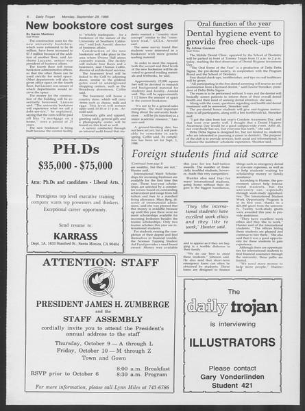 Daily Trojan, Vol. 102, No. 20, September 29, 1986
