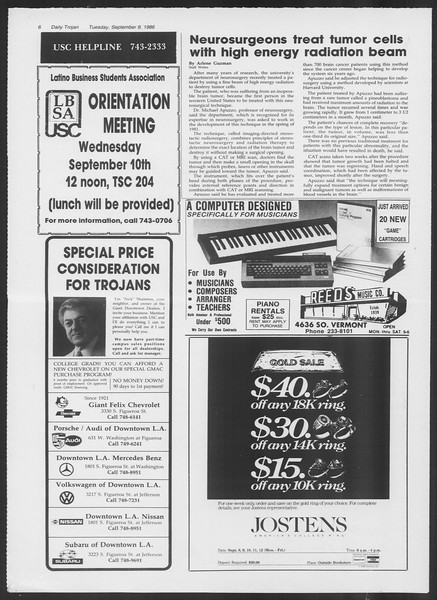 Daily Trojan, Vol. 102, No. 6, September 09, 1986