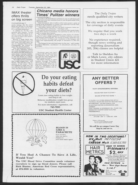 Daily Trojan, Vol. 97, No. 16, September 25, 1984