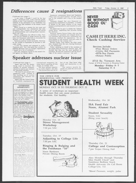 Daily Trojan, Vol. 92, No. 29, October 15, 1982