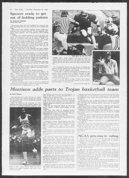 Daily Trojan, Vol. 92, No. 13, September 23, 1982
