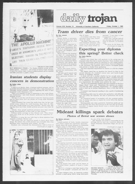 Daily Trojan, Vol. 92, No. 19, October 01, 1982