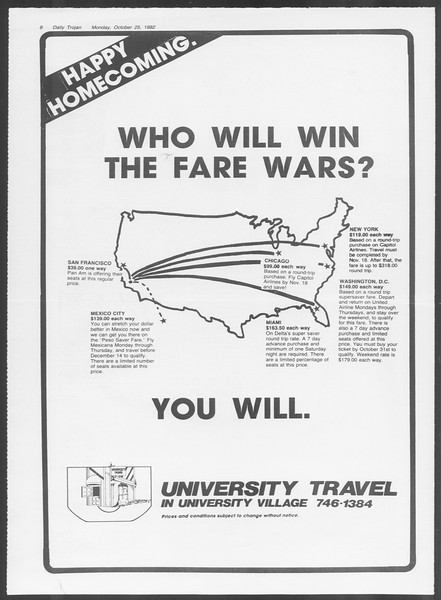Daily Trojan, Vol. 92, No. 34, October 25, 1982