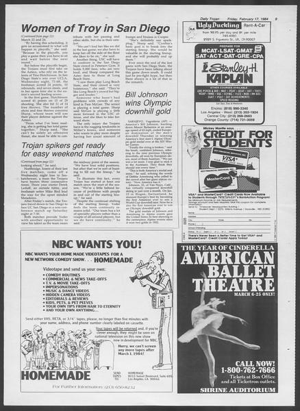 Daily Trojan, Vol. 95, No. 29, February 17, 1984