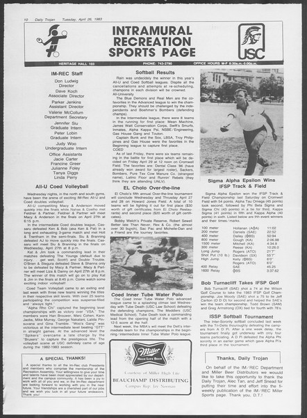 Daily Trojan, Vol. 93, No. 66, April 26, 1983