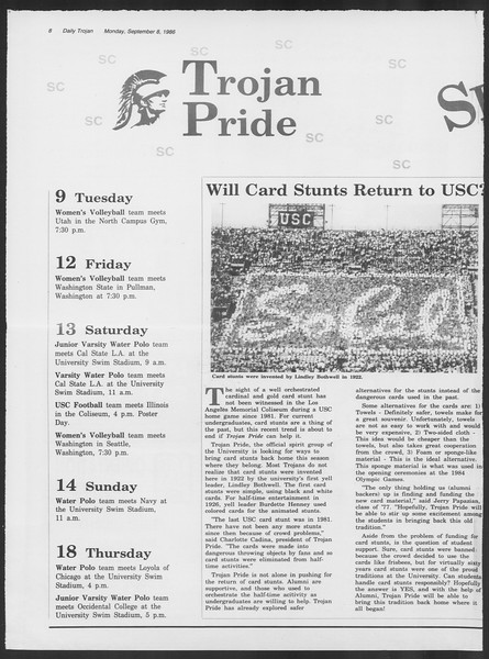 Daily Trojan, Vol. 102, No. 5, September 08, 1986