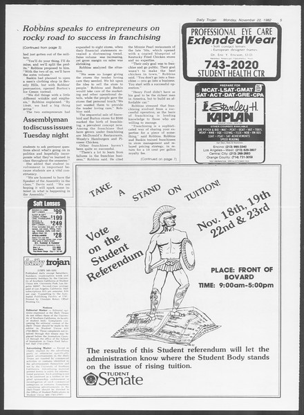 Daily Trojan, Vol. 92, No. 54, November 22, 1982