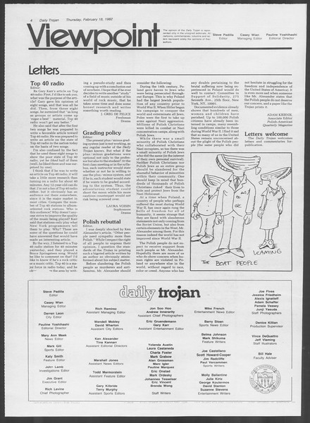 Daily Trojan, Vol. 91, No. 25, February 18, 1982