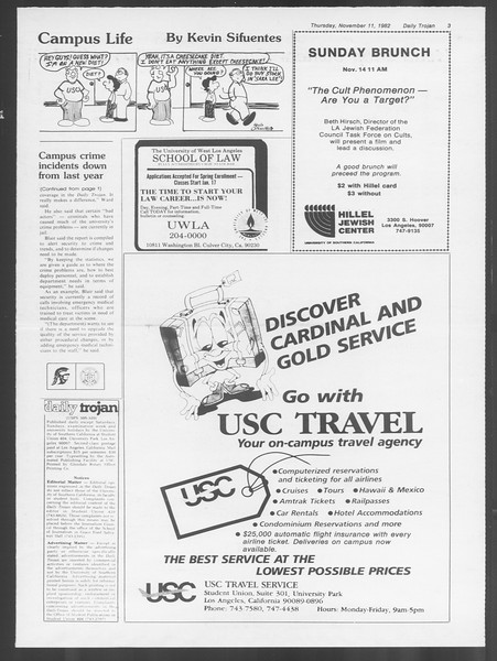 Daily Trojan, Vol. 92, No. 47, November 11, 1982