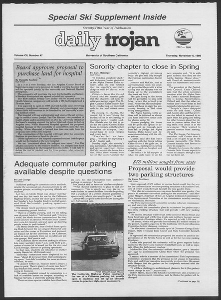 Daily Trojan, Vol. 102, No. 47, November 06, 1986