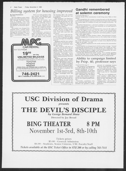 Daily Trojan, Vol. 97, No. 44, November 02, 1984