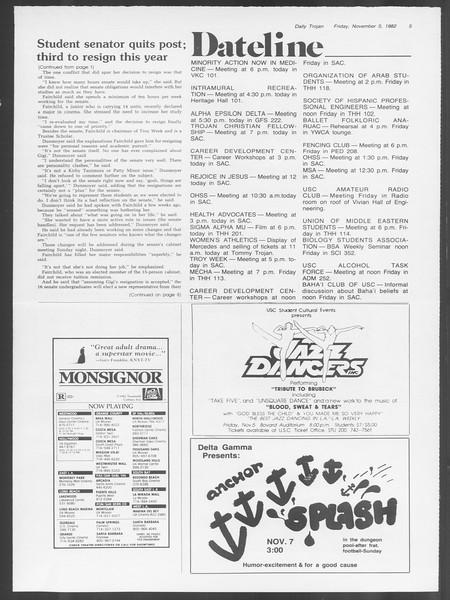 Daily Trojan, Vol. 92, No. 43, November 05, 1982
