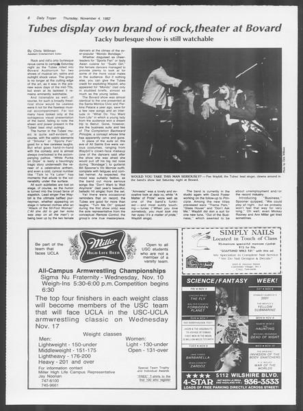 Daily Trojan, Vol. 92, No. 42, November 04, 1982