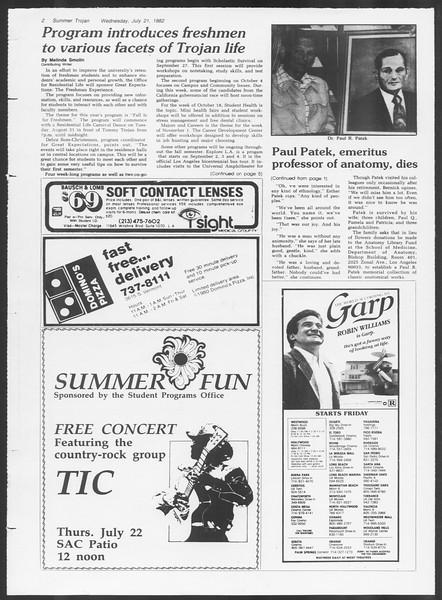 Summer Trojan, Vol. 91, No. 14, July 21, 1982