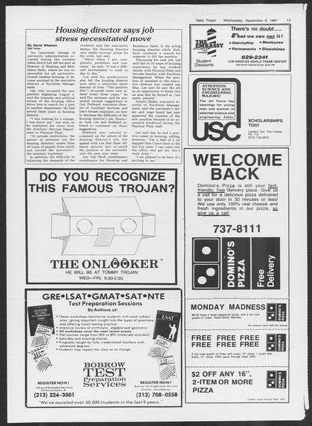 Daily Trojan, Vol. 91, No. 6, September 09, 1981